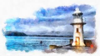 рисунок, маяк, море, акварель, красиво