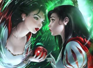 snow white, Дісней, Аніме, tale, childish story, Apple, дзеркало, відображення, anime girl, magic mirror