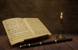 flute, notes, Candle, table, music