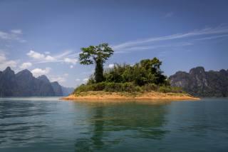 Thajsko, jezero, ostrov, hory, Cheow, Lan, jezero, Khao Sok, Národní Park, stromy, příroda