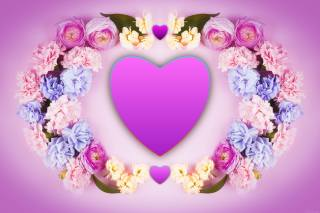 flowers, hearts, Love, виньетка