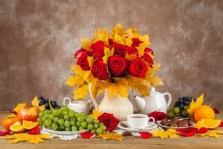 rose, autumn, still life, grapes, vase, leaves, flowers