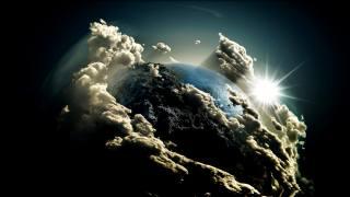 planeta, oceán, hory, mraky, slunce, paprsky, vesmír