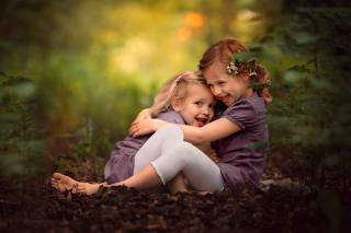 children, girls, hugs, nature, summer