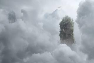 небо, хмари, острів, літаючий