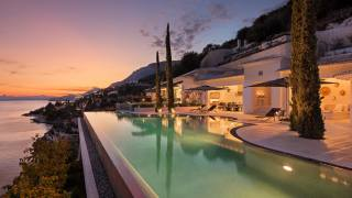 Greece, Villa, evening, home, corfu kaminaki, pool, the city