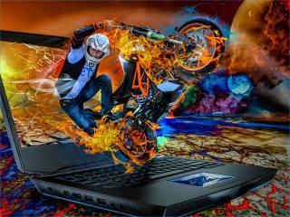 motocyklista, motocykl, notebook, barvy, феерия, photoshop