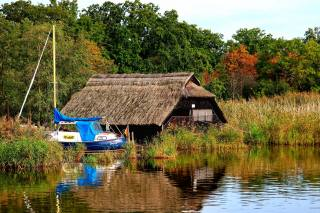 the house, boat, river, thickets, trees