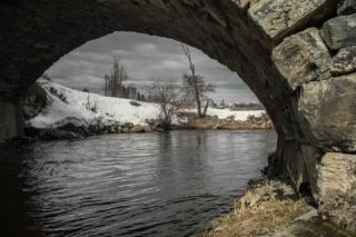 річка, міст, арка, зима, краєвид