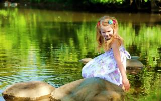 child, girl, dress, nature, the pond, water, stones, summer