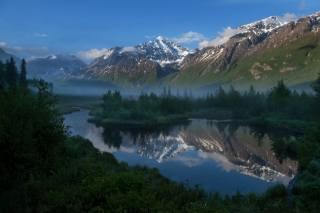 ліс, гори, річка, Аляска, природа
