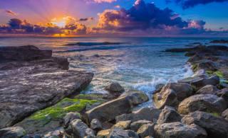 захід, море, горизонт, хмари, каміння