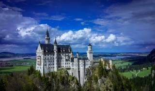 небо, хмари, Замок Нойшванштайн, Німеччина
