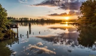 літо, річка, небо, сонце, захід, вечір