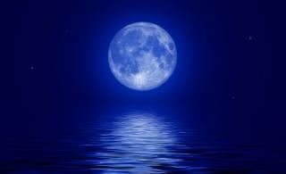 природа, краса, ніч, нічний, небо, місяць, Місячний, планета, зірка, зірки, світло, повний місяць, вода, відображення