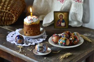 holiday, Easter, table, plates, EGGS, Cake, Candle, icon, basket, napkin