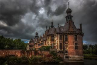 Belgie, Замкок, rybník, most, Ooidonk, hrad, HDR, město