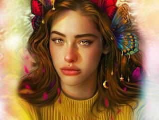 butterfly, insects, drawings, girls, vurdeM