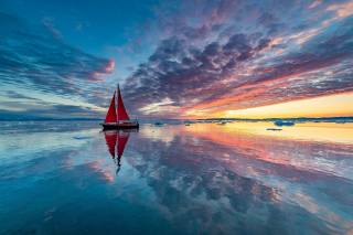 water, ice, boat, yacht, sailboat, sunset