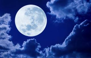 the moon, clouds