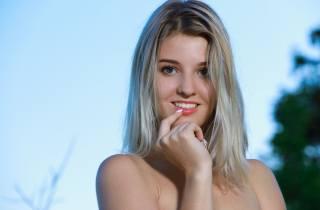 blonde, view, smile