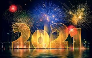 ночь, праздник, Новый год, салют, цифры, фейерверк, чёрный фон, дата, 2021