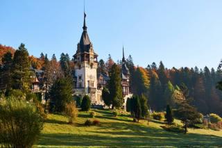 Rumunsko, hrad, Peles, hrad, Transylvania, věž, stromy, příroda
