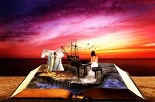 girls, the piano, Pegasus, book, sea, ship, phantasmagoria