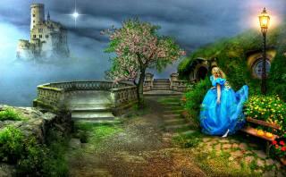 holka, zahrada, hrad, ostrov, létající