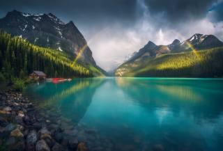 природа, пейзаж, горы, озеро, камни, дом, радуга, тучи