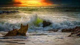 the ocean, nature, rock, landscape, sea, shore, sunset, wave, the sky