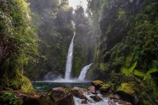 Chile, waterfall, stones, Chaiten, moss, nature