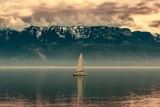 moře, jachta, břeh