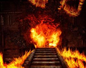 hrad, schodiště, Plameny
