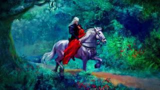 Рыцарь и принцесса, ліс, кінь, рослини, произведения искусства, романтика