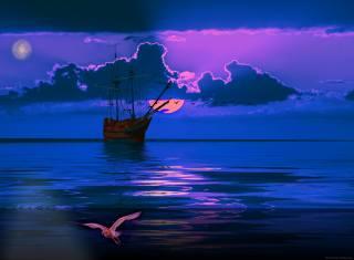 moře, nebe, plachetnice