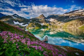 nature, landscape, mountains, the lake, turret, the slope, flowers
