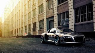 audi, r8, building, sunlight, sport cars