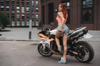 yamaha, girl, sportbike, street, the city