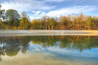 озеро, отражение, деревья, осень, небо