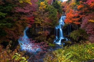 příroda, podzim, hory, kameny, skály, vodopád, kaskáda, les, stromy, KEŘE