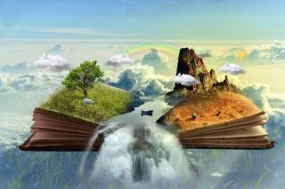 the sky, clouds, book, mountain, tree, grass, desert, river, boat, waterfall, 3D graphics