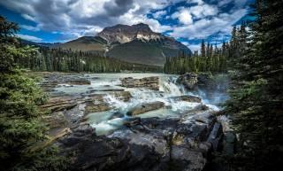 канада, горы, камни, пейзаж, Альберта, облака, Джаспер, природа