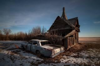 дом, развалины, машина, лом