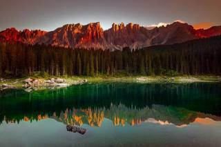 озеро, гладь, отражение, лес, горы