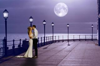 PAIR, kiss, night, the moon