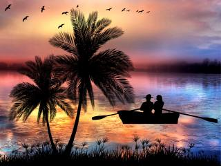 silhouettes, lovers, boat, the lake, Palma, birds, sunset