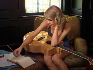 taylor swift, Taylor Swift, singer, blonde, chair, guitar, music