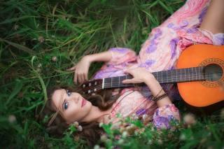 guitar, girl, grass, music
