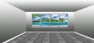 комната, окно, вид, тропики
